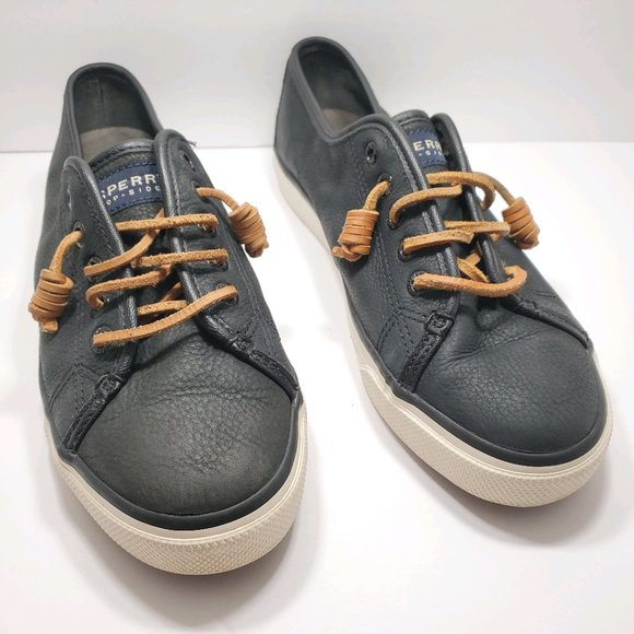 Sperry Shoes | Black Leather Slip On